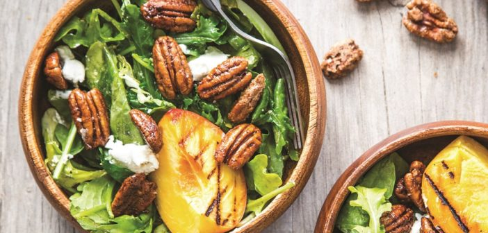 Grilled Peach Salad with Crunchy Spiced Pecans