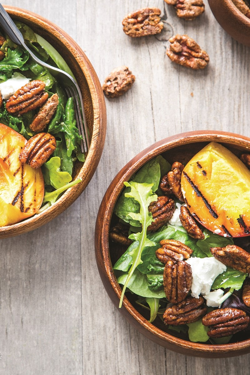 "Grilled Peach Salad Recipe with Spiced Pecans and Dairy-Free ""Goat Cheese"""