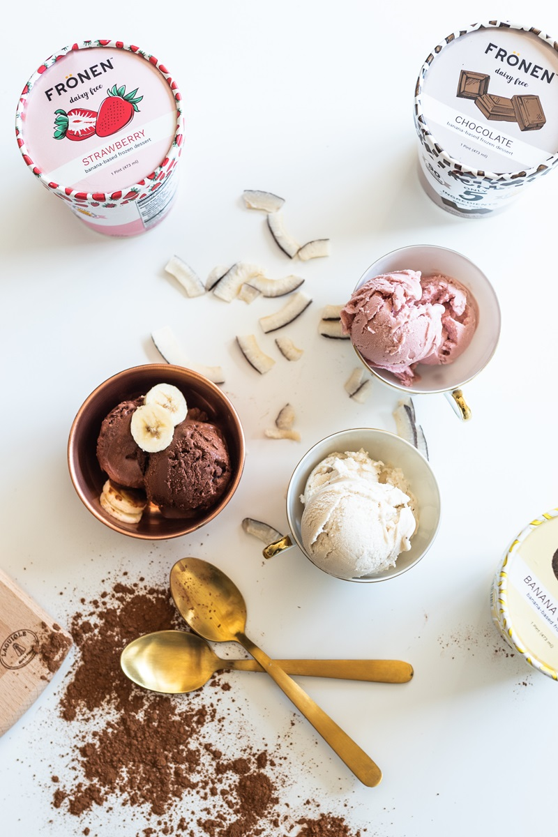 Fronen Non-Dairy Frozen Dessert has just 4 to 5 ingredients! Dairy-free, paleo-friendly, plant-based, and sweetened with honey.