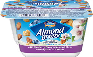 Almond Breeze Almondmilk Yogurt Alternative Review and Information - dairy-free yogurts with toppings by Blue Diamond. Pictured: Almond Yogurt Alternative + Blueberry Flavored Almonds & Oat Cluster