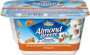 Almond Breeze Almondmilk Yogurt Alternative Review and Information - dairy-free yogurts with toppings by Blue Diamond. Pictured: Almond Yogurt Alternative + Salted Caramel Flavored Almonds and Pretzels