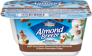 Almond Breeze Almondmilk Yogurt Alternative Review and Information - dairy-free yogurts with toppings by Blue Diamond. Pictured: Almond Yogurt Alternative + Chocolate Flavored Almonds & Dark Chocolate