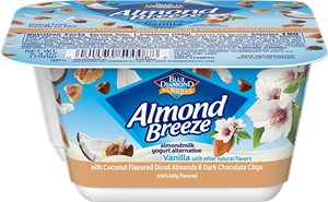Almond Breeze Almondmilk Yogurt Alternative Review and Information - dairy-free yogurts with toppings by Blue Diamond. Pictured: Almond Yogurt Alternative + Coconut Flavored Diced Almonds & Dark Chocolate Chips