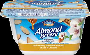 Almond Breeze Almondmilk Yogurt Alternative Review and Information - dairy-free yogurts with toppings by Blue Diamond. Pictured: Almond Yogurt Alternative + Honey Roasted Almonds & Granola