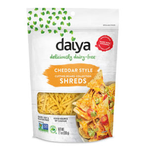 Daiya Cutting Board Shreds Review and Full Information (Dairy-Free Cheese Alternative) - picture: Nachos made with new Daiya Dairy Free Premium Cutting Board Shreds. Pictured: Cheddar