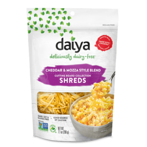 Daiya Cutting Board Shreds Review and Full Information (Dairy-Free Cheese Alternative) - picture: Nachos made with new Daiya Dairy Free Premium Cutting Board Shreds. Pictured: Cheddar Mozzarella