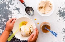 Vegan and Dairy-Free Salted Caramel Ice Cream made with just 3 simple ingredients! Straight from your pantry. A sample recipe from famed Fomu ice cream.