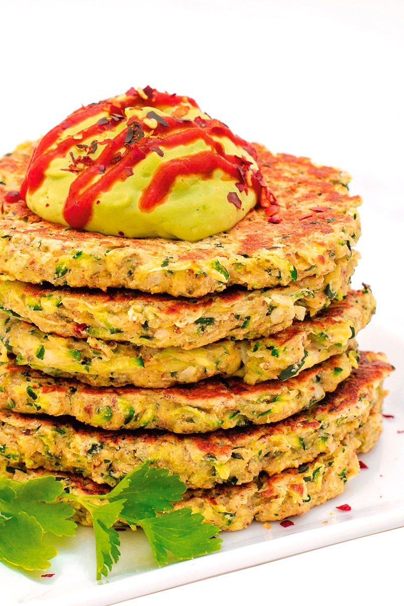 Quick and Crispy Zucchini Fritters with Avocado Crema Recipe from Vegan Comfort Cooking Cookbook