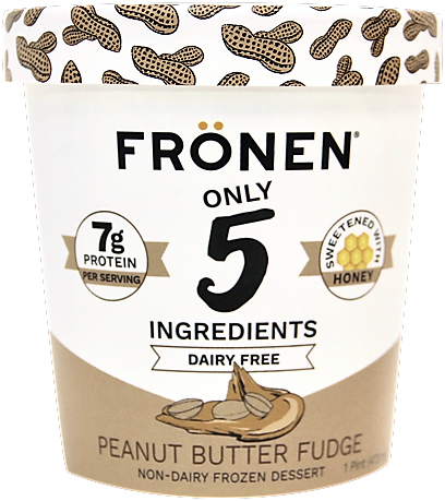 Fronen Non-Dairy Frozen Dessert has just 4 to 6 ingredients! Dairy-free, paleo-friendly, plant-based, and sweetened with honey. Pictured: Peanut Butter Fudge