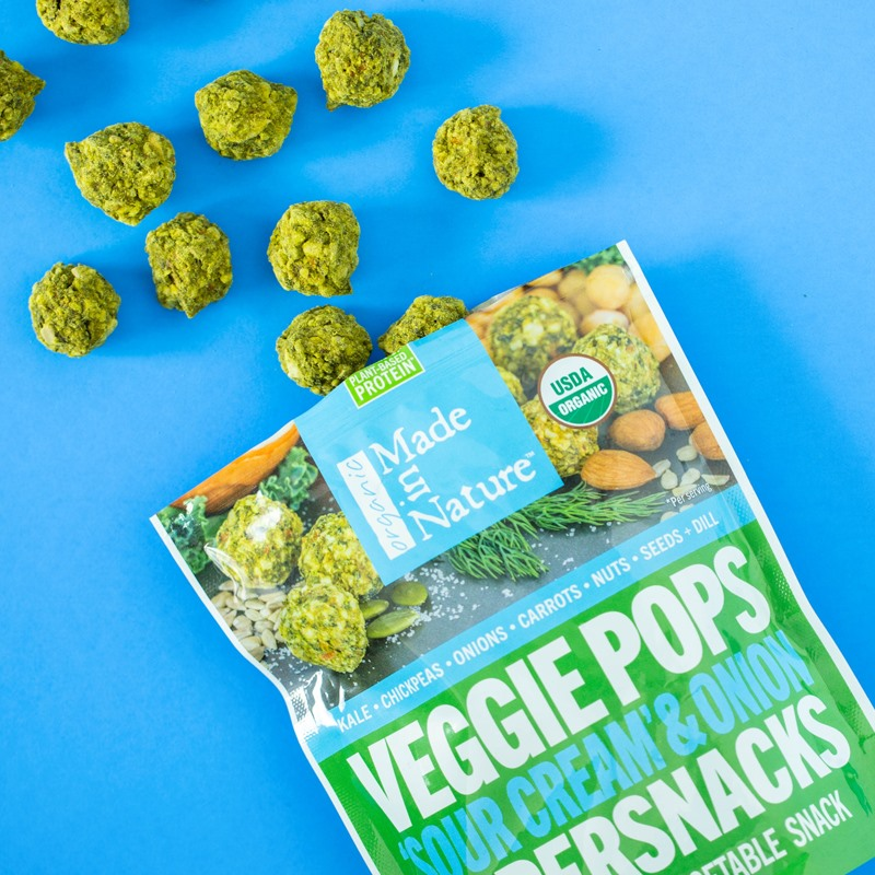 Made in Nature Veggie Pops Review and Information - healthy, dairy-free, veggie loaded, flavorful crunchy snacks. We have ingredients, nutrition, ratings, and more!