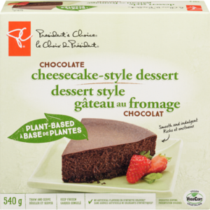 President's Choice Vegan Cheesecake Style Dessert (Plant-Based, Dairy-Free, Nut-Free and Soy-Free) Reviews and Info - sold in Canadian grocers. Pictured: Chocolate