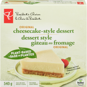President's Choice Vegan Cheesecake Style Dessert (Plant-Based, Dairy-Free, Nut-Free and Soy-Free) Reviews and Info - sold in Canadian grocers. Pictured: Original