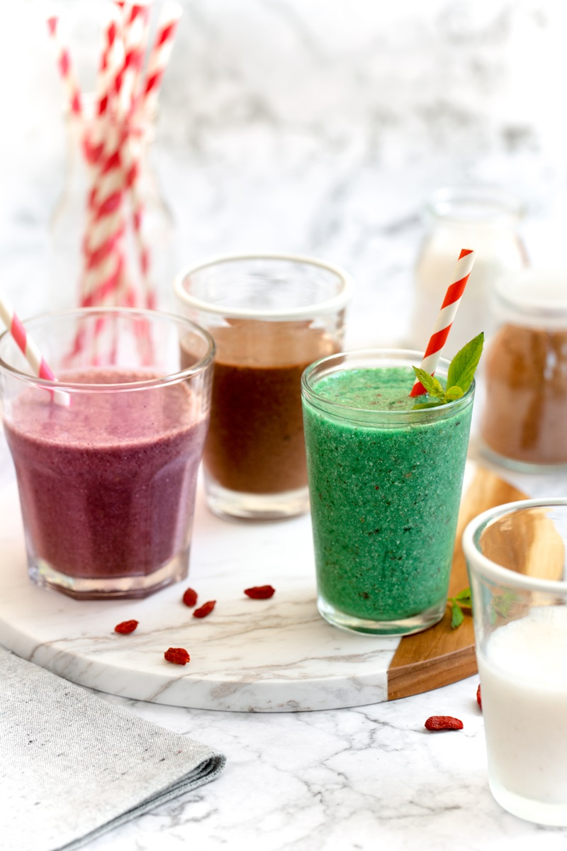 DIY Dairy-Free Instant Milkshake Mix Recipe with 4 Superfood Flavors! (vegan, gluten-free, and allergy-friendly) - rich, creamy, decadent, and healthy. Yes really!