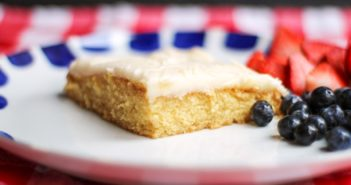 Dairy-Free Vanilla Texas Sheet Cake Recipe - with nut-free, soy-free, and egg-free options. Delicious party recipe that everyone loves!
