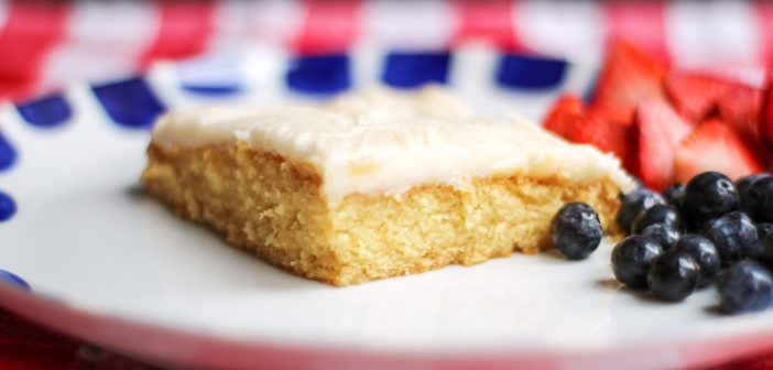Dairy-Free Vanilla Texas Sheet Cake that's Big at Parties