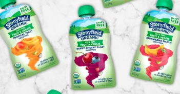 Stonyfield Dairy-Free Smoothie Pouches with 4 Fruits and Veggies. Available in 3 plant-based flavors. We have all of the information.