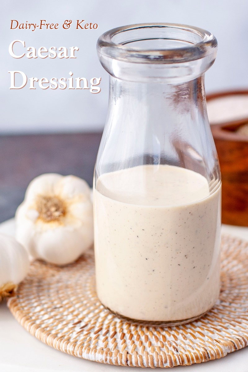 Keto Dairy-Free Caesar Dressing Recipe - rich, creamy, and oh-so easy. The perfect topping for Kyndra's Keto Caesar Salad with Cumin-Spiced Pecans (yes, we have that recipe too!)