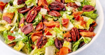 Keto Dairy-Free Caesar Salad Recipe with Homemade Crunchy Cumin-Spiced Pecans and Creamy Caesar Dressing. Gluten-free, grain-free, soy-free, sugar-free.