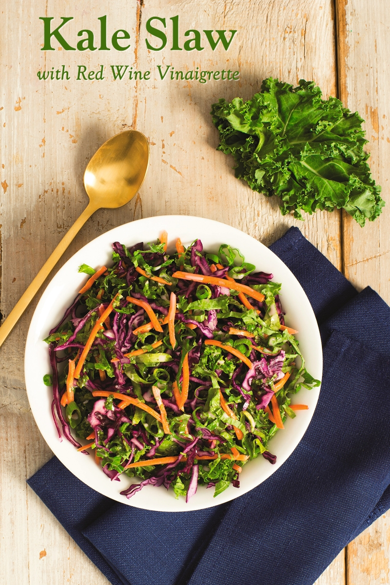 Kale Slaw Recipe - healthy, plant-based, dairy-free, and allergy-friendly with a Tangy Vinaigrette