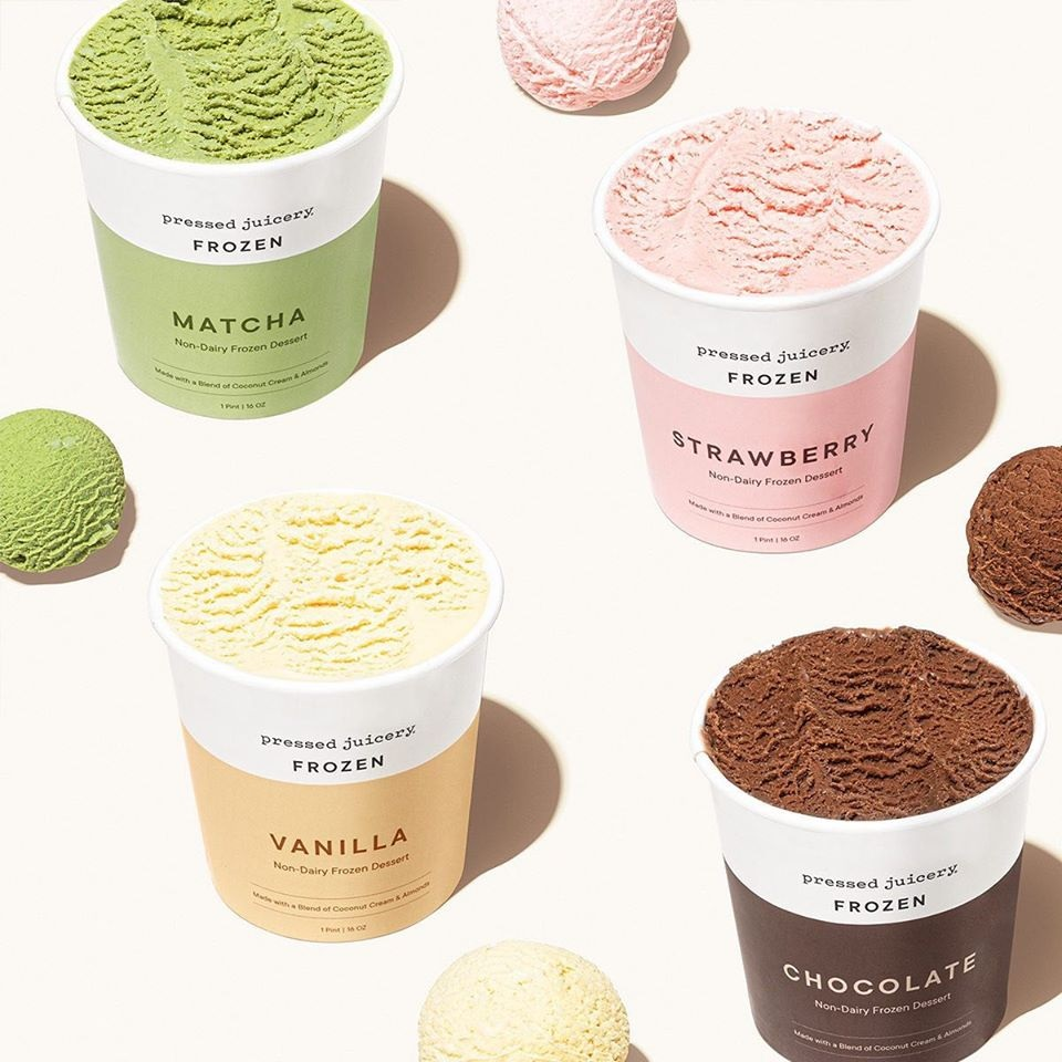 Pressed Juicery Dairy-Free Guide - Frozen Dairy-Free Frozen Dessert Pints pictured