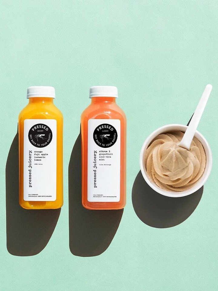 Pressed Juicery Guide to Dairy-Free, Vegan, and Gluten-Free Menu Items. Includes ingredients for plant-based Freeze soft serve, plus toppings options.
