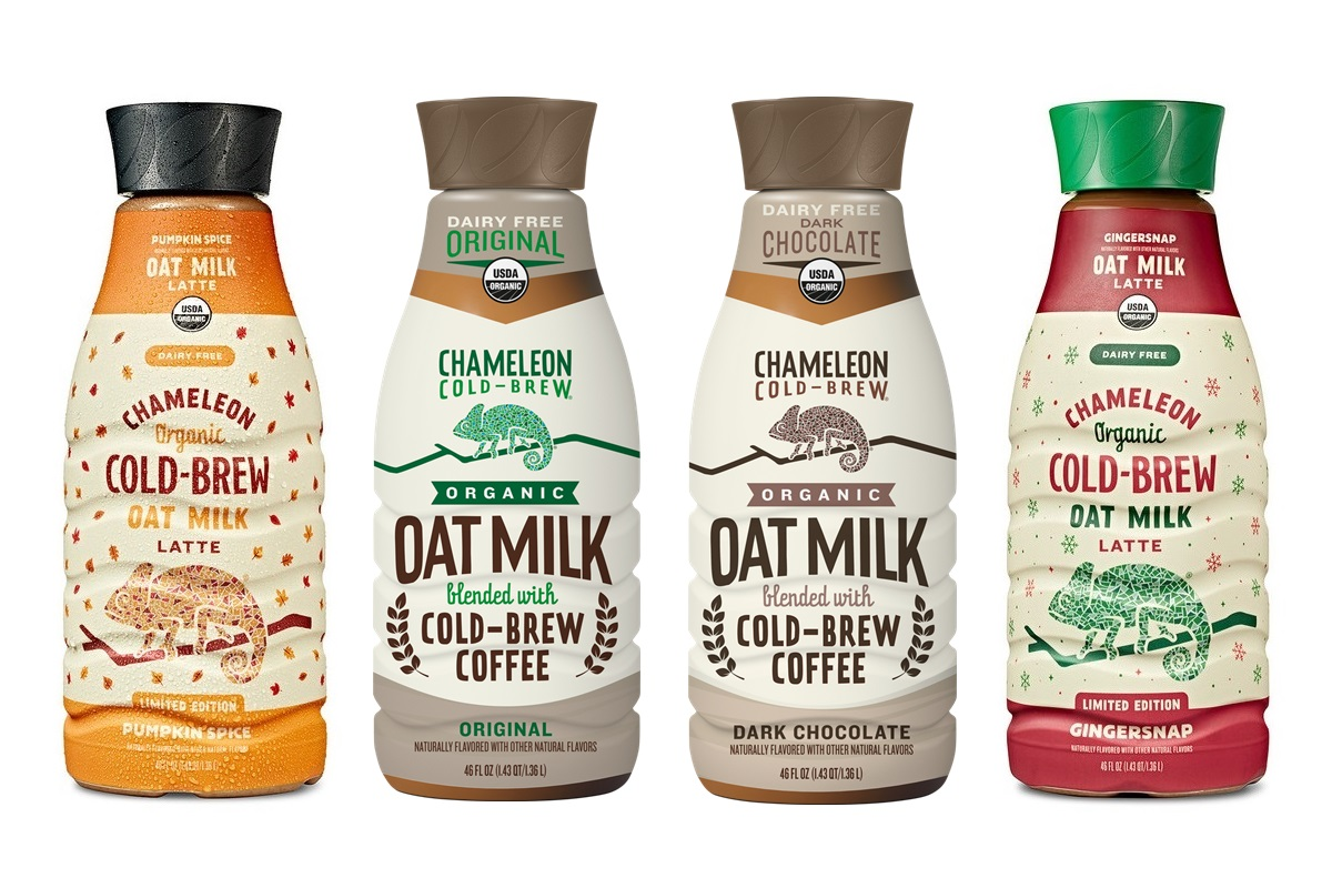 Chameleon Oat Milk Lattes are Dairy-Free Cold Brews for All Seasons - reviews and information! (vegan, plant-based, with pumpkin and gingersnap varieties)