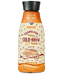 Chameleon Oat Milk Lattes are Dairy-Free Cold Brews for All Seasons - reviews and information! (vegan, plant-based, with pumpkin and gingersnap varieties) - available in bottles and single serves.