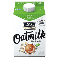 So Delicious Oatmilk Creamers Reviews & Info - launching in three flavors: Original (with brown sugar flavor), Vanilla, and Snickerdoodle. All dairy-free, gluten-free, soy-free, and vegan. Pictured: Creamy Original