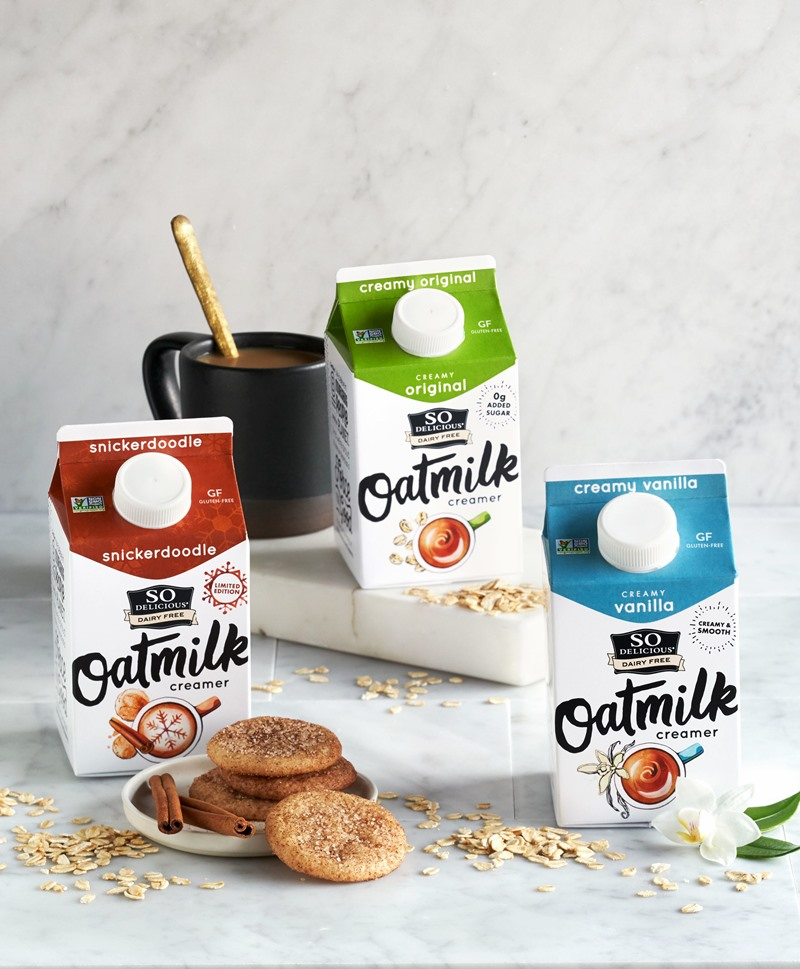 So Delicious Oatmilk Creamers Reviews & Info - launching in three flavors: Original (with brown sugar flavor), Vanilla, and Snickerdoodle. All dairy-free, gluten-free, soy-free, and vegan.