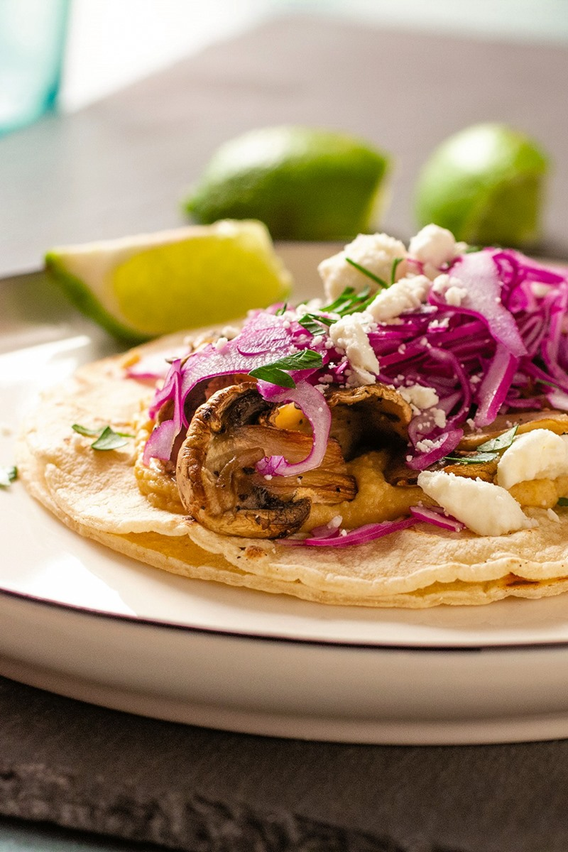 Plant-Based Mushroom Tacos Recipe with Healthy Slaw & Chipotle Hummus (Vegan, Dairy-Free, Gluten-Free, Nut-Free, and Soy-Free)