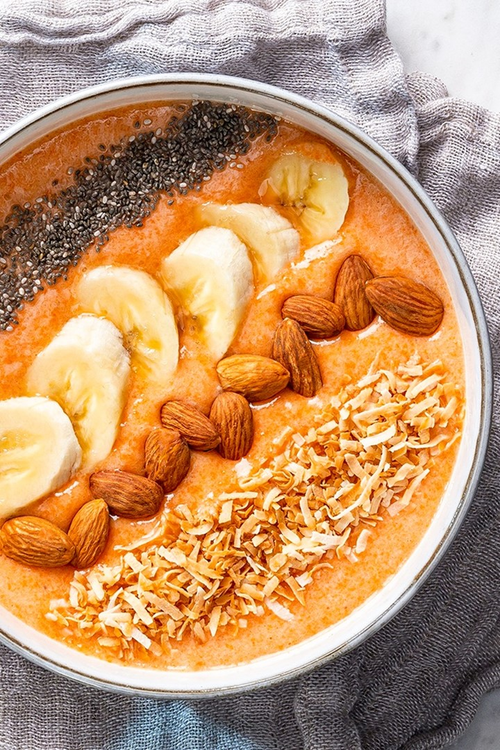 Dairy-Free Carrot Smoothie Bowls Recipe (also vegan, sugar-free (no added sweeteners), and allergy-friendly (even options for nut-free and banana-free!)