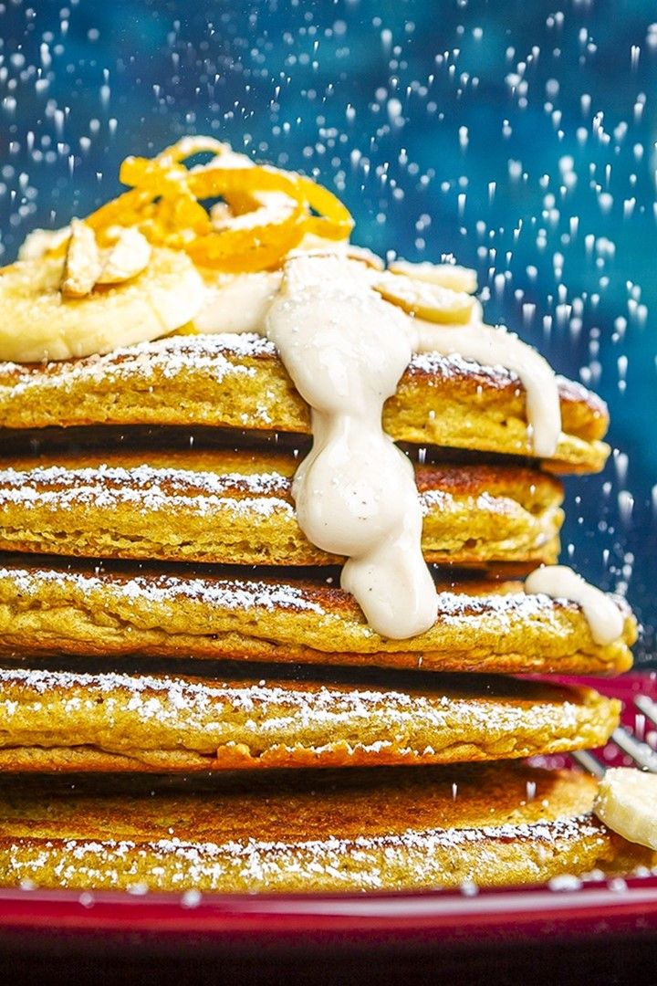 Olaf's Dairy-Free Orangesicle Pancakes Recipe with Make-Ahead Freezer Option. Nutritious, Delicious, and Allergy-Friendly. Includes nut-free, gluten-free, and egg-free options.