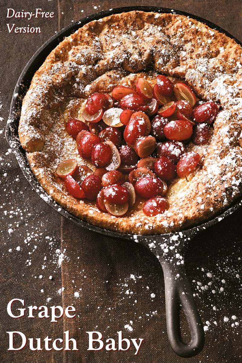 Dairy-Free Grape Dutch Baby Pancake Recipe with Gluten-Free Option - A German Pancake with sweet Grape Topping