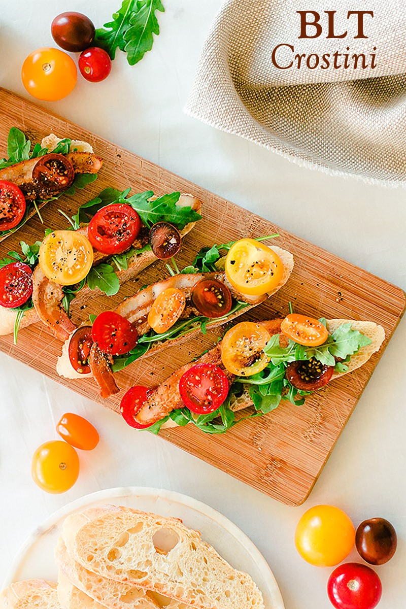 BLT Crostini Recipe - a naturally dairy-free appetizer, perfect for antipasto nights, parties, and football games! Gluten-free option and allergy-friendly. Vegan option too!