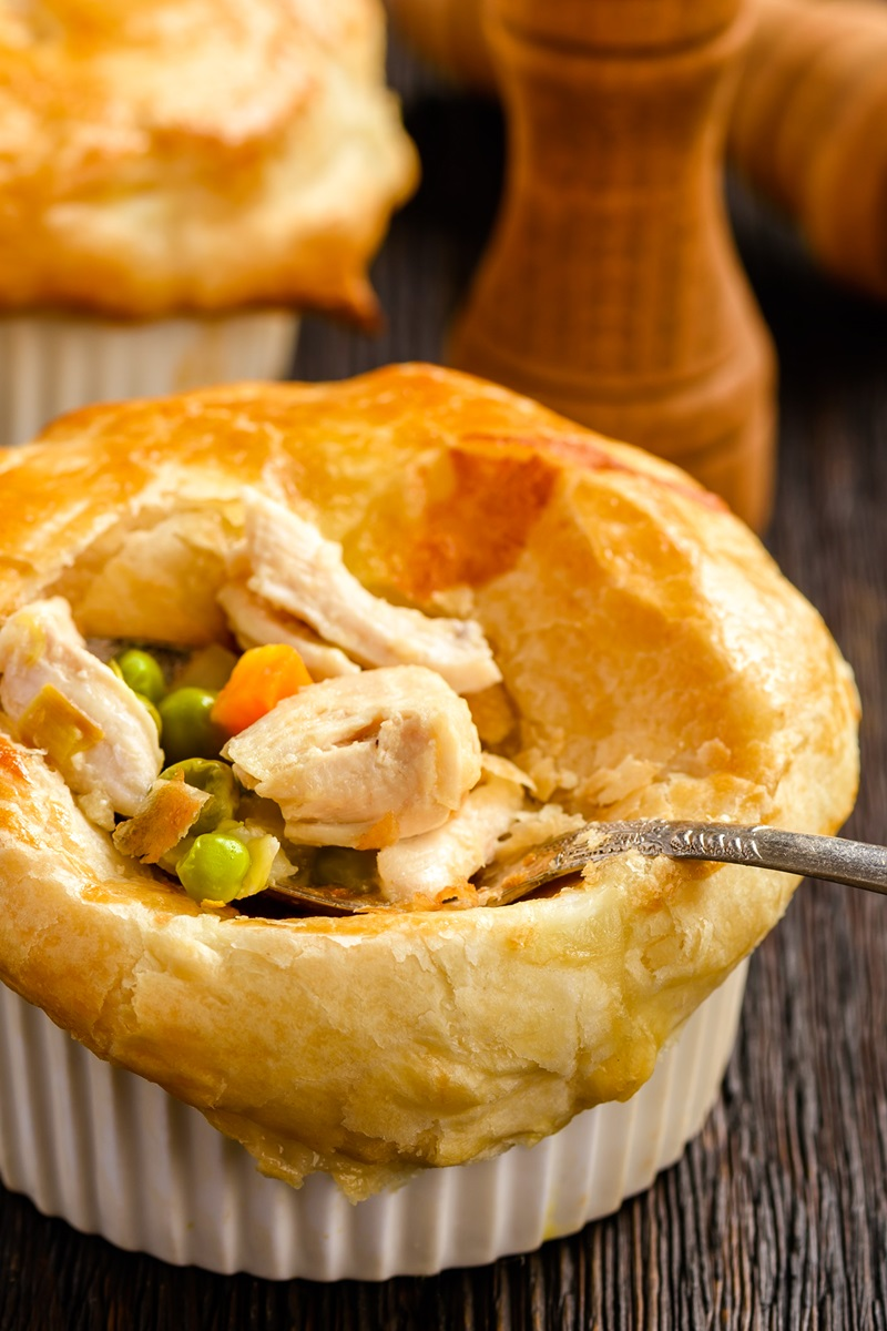 Dairy-Free Individual Pot Pies Recipe to Use Up Turkey or Chicken Leftovers