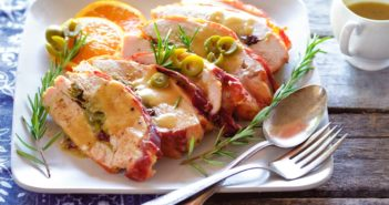 Dairy-Free Stuffed Turkey Breast Recipe Wrapped in Prosciutto and Served with Turkey Gravy (gluten-free and paleo optional)