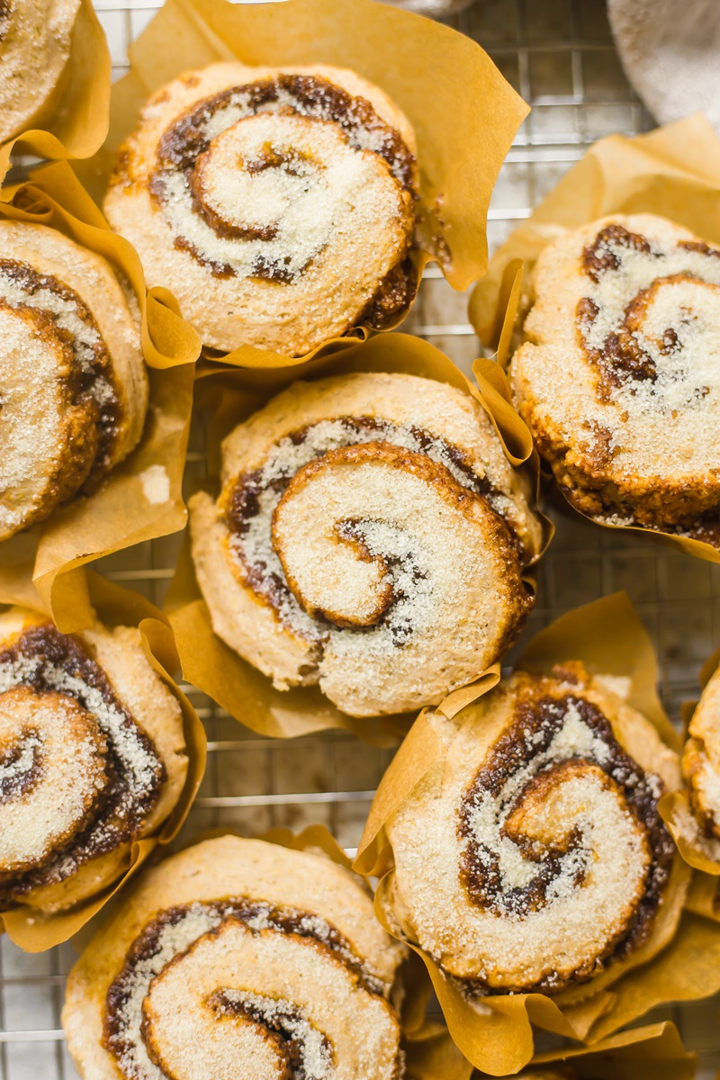 No Rise Pumpkin Spice Cinnamon Rolls Recipe baked in Muffin Cups! Dairy-free & Vegan.