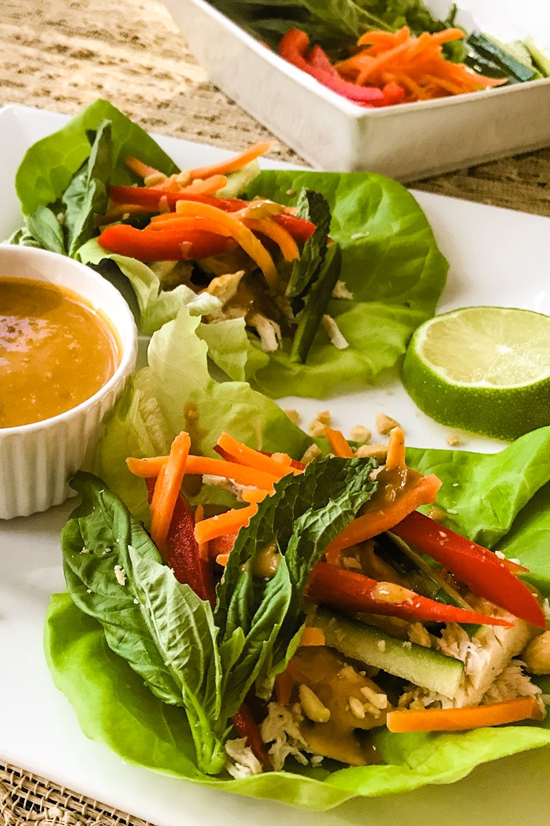 Thai Chicken Lettuce Wraps Recipe with Creamy Peanut Sauce (Dairy-Free, Gluten-Free Entree or Appetizer)