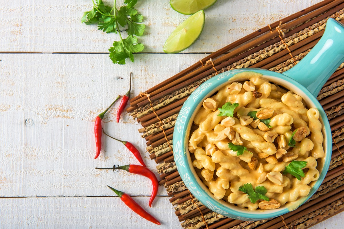 Vegan Thai Curry Pasta Recipe - rich, creamy, delicious, dairy-free, and soy-free recipe from the cookbook Vegan Mac and Cheese