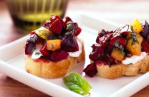 Plant-Based Cherry Bruschetta Recipe with Dairy-Free 'Goat Cheese' or Mozza (gluten-free option)