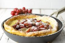Dairy-Free Grape Dutch Baby Pancake Recipe with Gluten-Free Option - A German Pancake with sweet Grape Topping
