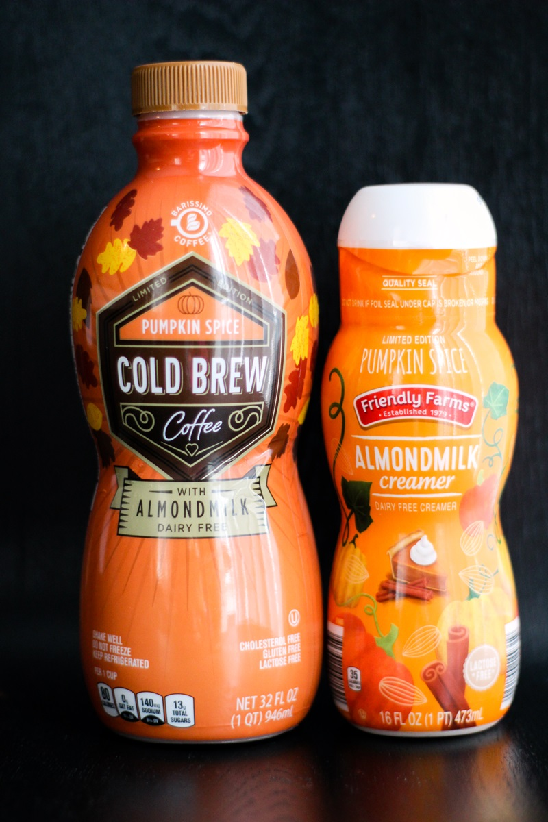 Dairy-Free Holiday Beverages - complete round-up of nogs, pumpkin spice drinks, and more! Pictured: Aldi products