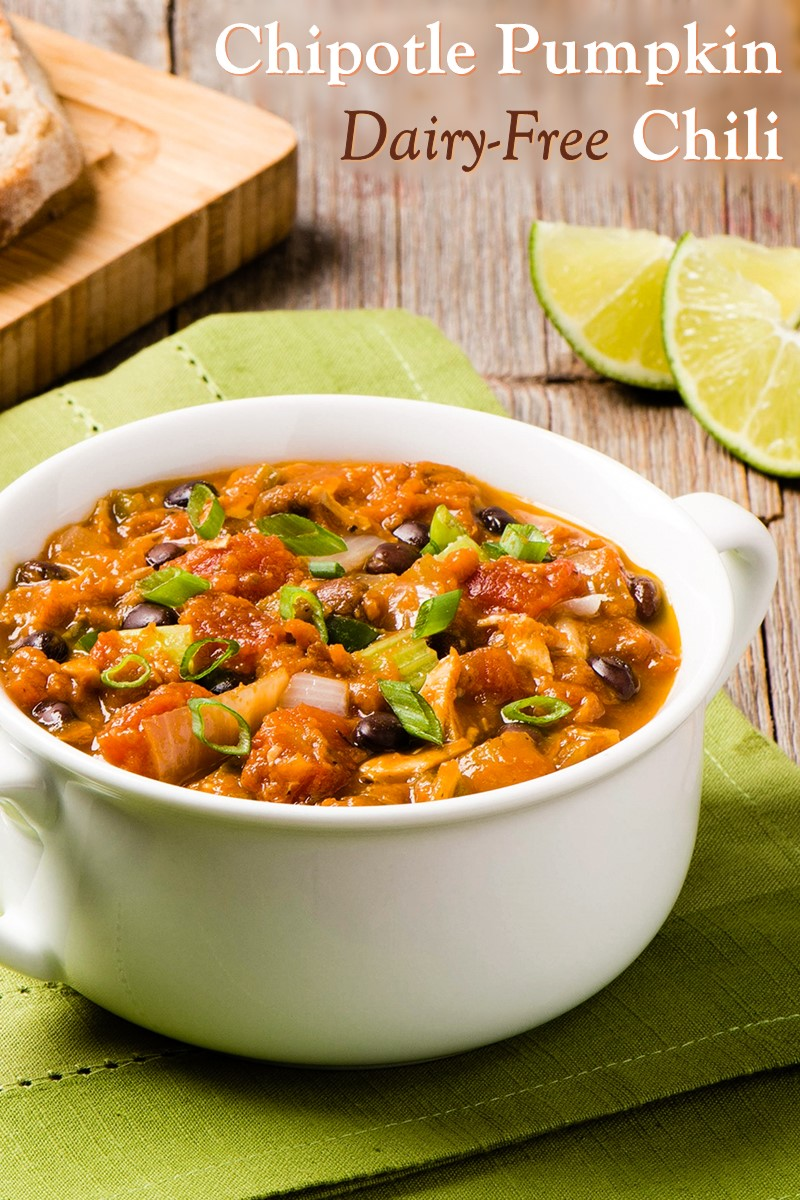 Dairy-Free Chipotle Pumpkin Chili Recipe (also gluten-free and top food allergy-friendly; includes a vegan option)