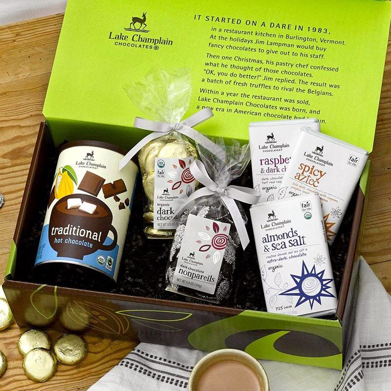 The Best Dairy-Free Chocolate Gifts for the Holidays - pictured: Lake Champlain Vegan Gift Box
