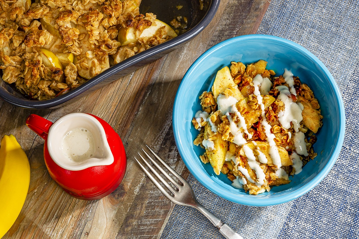 Dairy-Free Apple Crisp with Banana Cream that's Anna & Elsa Approved (Nutritious, Kid-Friendly, Plant-Based Dessert inspired by Frozen 2) - nut-free, soy-free, gluten-free and refined sugar-free options
