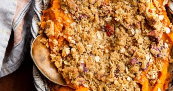 Vegan Sweet Potato Casserole Recipe with Gluten-Free Option - just like the classic crumble recipe but dairy-free and egg-free (no marshmallows!)