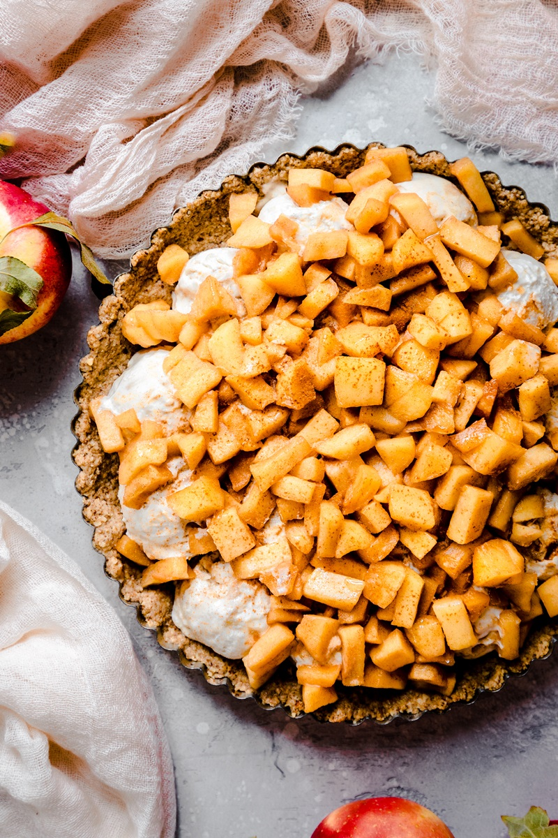 Vegan Apple Crumble Ice Cream Pie Recipe with Optional Dairy-Free Date Caramel Sauce - the recipe is also naturally gluten-free and soy-free!