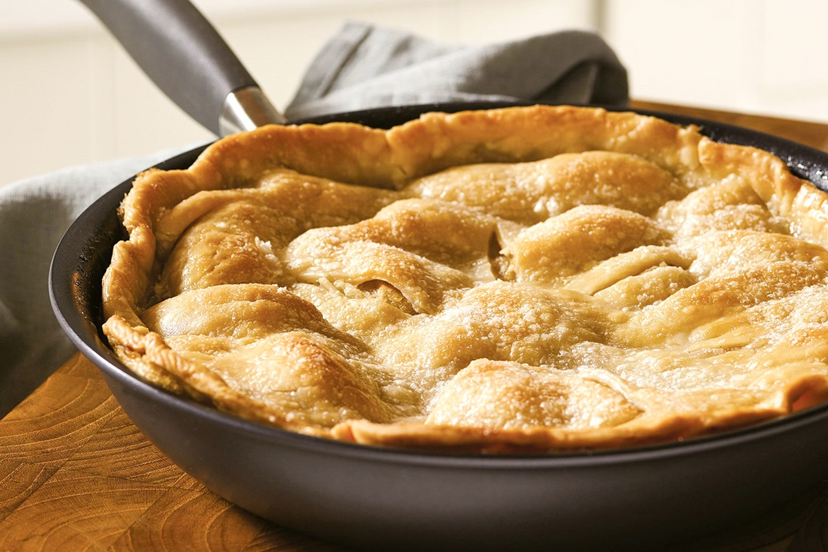 Dairy-Free Skillet Apple Pie Recipe - also vegan and optionally allergy-friendly. Easy stovetop to oven recipe with sweet, bubbly apples