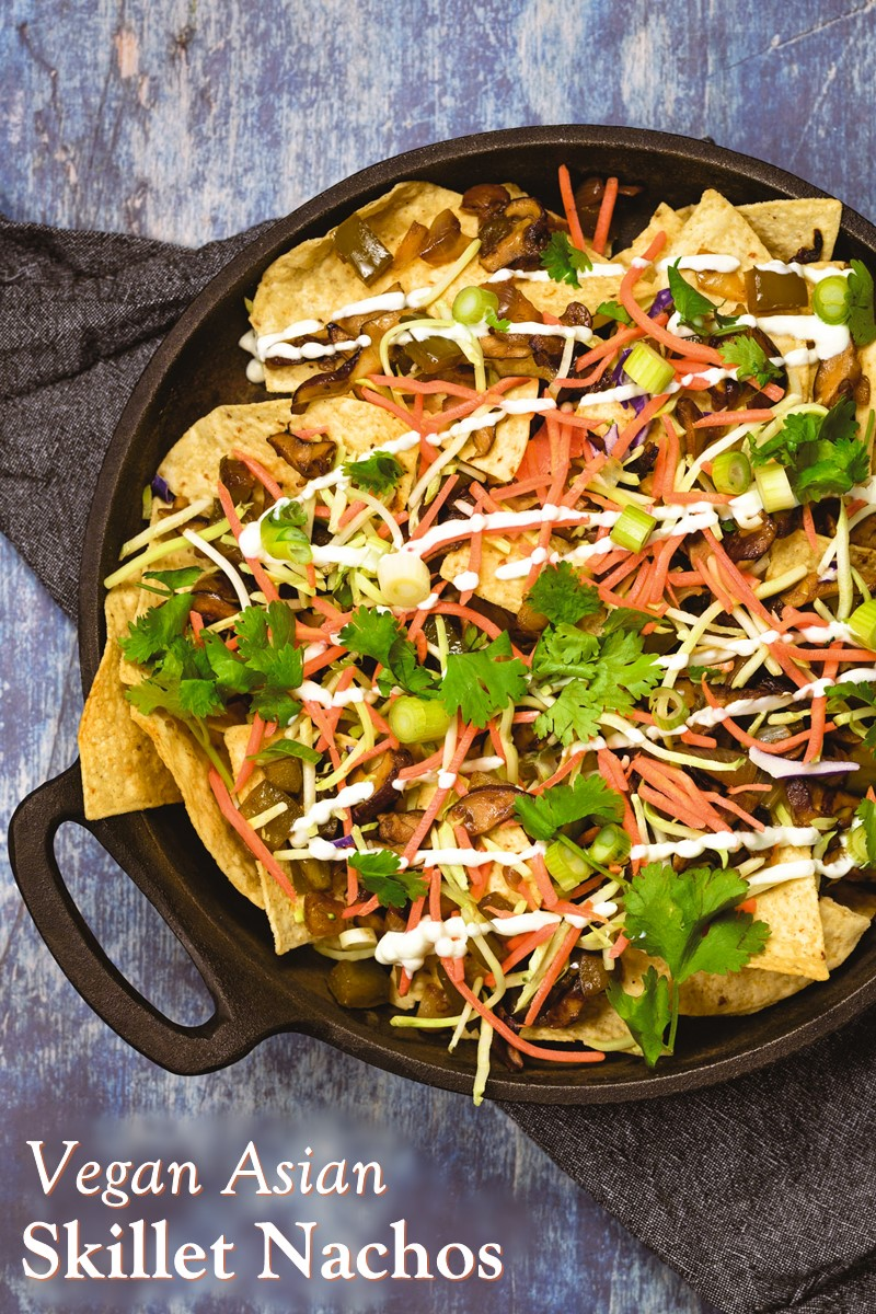 Easy Vegan Asian Skillet Nachos with Wasabi Crema Recipe (also gluten-free and nut-free)