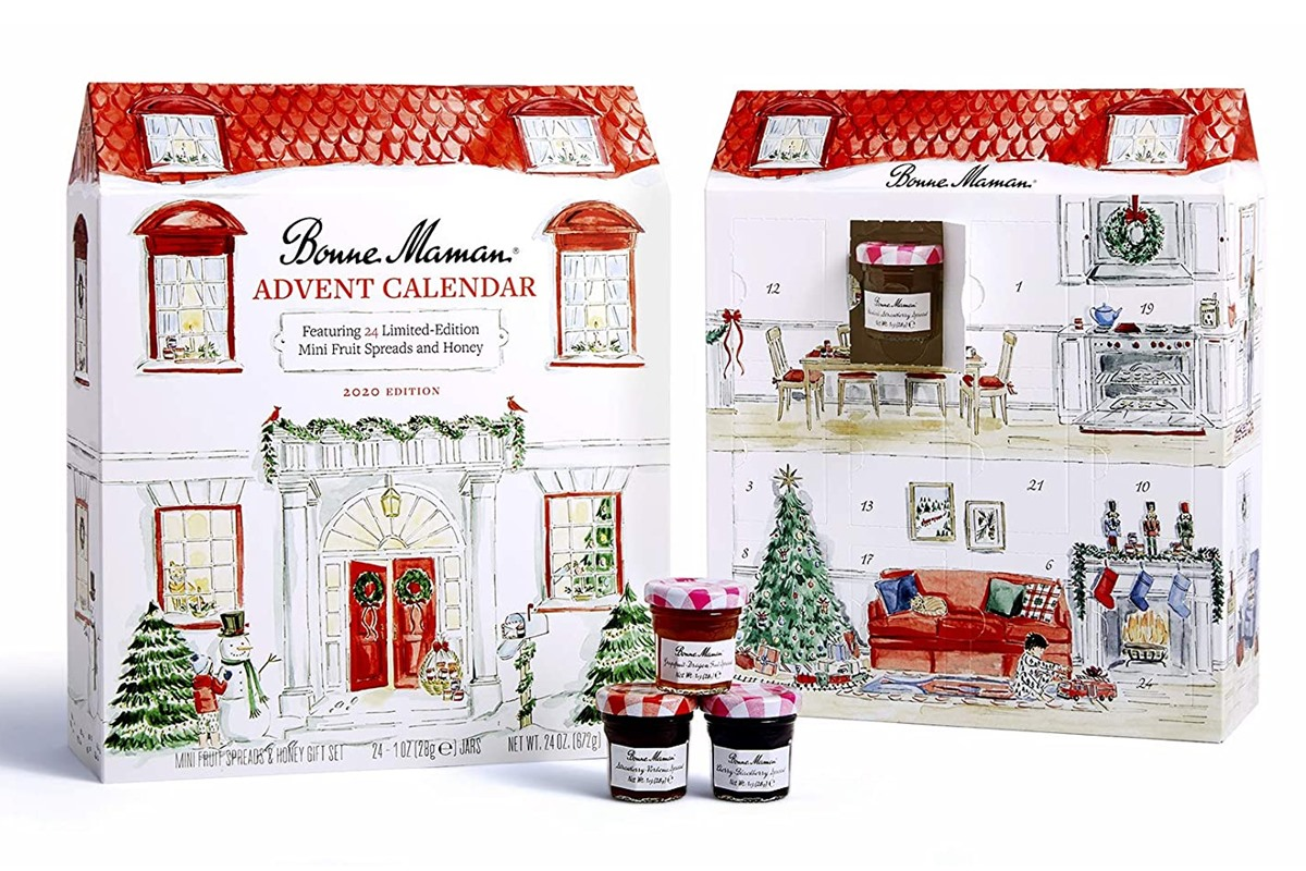 Dairy-Free Advent Calendars - A Full Round-Up with Vegan, Gluten-Free, Nut-Free, & Soy-Free Options, too! Pictured: Bonne Maman Preserve Advent Calendar